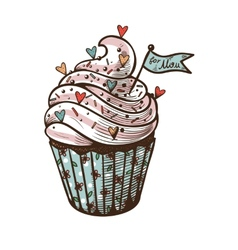 Hand drawn of cupcake with label For mom vector
