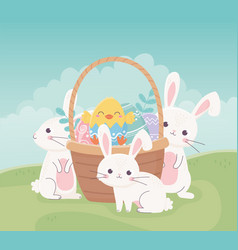 happy easter rabbits chicken in basket with eggs vector image