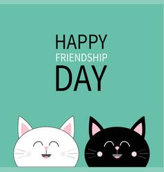 Happy friendship day black white cat head icon vector