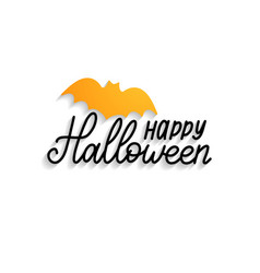 happy halloween hand lettering with bat vector image