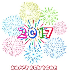 Happy New Year 2017 with fireworks background vector
