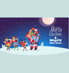 Happy new year card with elves reindeer and santa vector
