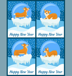 happy new year set of posters vector image
