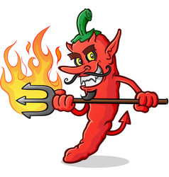 hot chili pepper devil cartoon character stab vector image