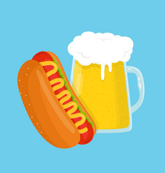 Hot dog and beer glass flat cartoon vector