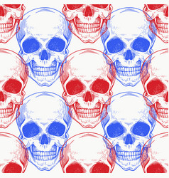 Human scull color seamless pattern hand drawn vector