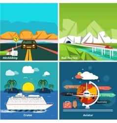 Icons set traveling and planning a vacation vector