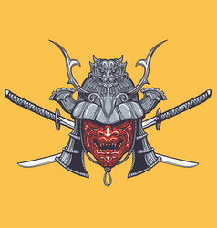 Japanese samurai mask with crossed swords vector