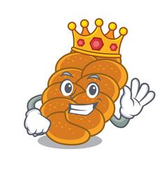 King challah mascot cartoon style vector