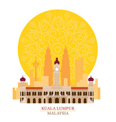 Kuala lumpur malaysia with decoration background vector