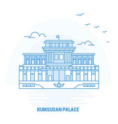 Kumsusan palace blue landmark creative background vector