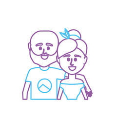 Line couple together with casual clothes vector