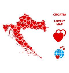 love croatia map composition of hearts vector image