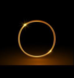 magic gold circle frame glowing fire ring logo vector image