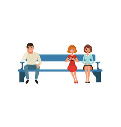 Man and two women sitting on bench and waiting for vector