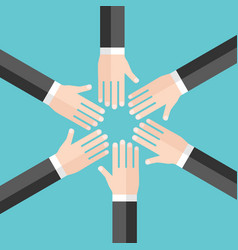 many hands in circle vector image