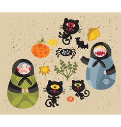 Matryoshka Dolls and monsters vector image