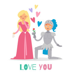 medieval fairy love tale knight and princess vector image