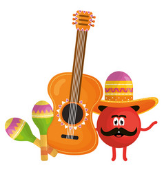 Mexican emoji character with guitar and maracas vector