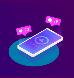 mobile phone with luminous screen and notification vector image