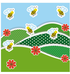 mountains with flowers and bees icon vector image