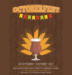 Octoberfest promotional poster with beer glass vector