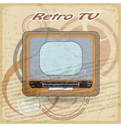 Outdated TV on vintage background vector image