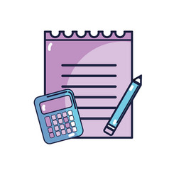 paper notebook with pencil and calculator tools vector image