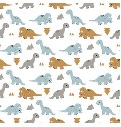 Pattern with funny dinosaurs vector