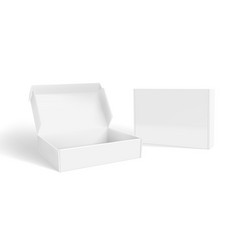 Realistic open and closed blank packaging boxes vector