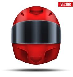 Red motor racing helmet with glass visor vector