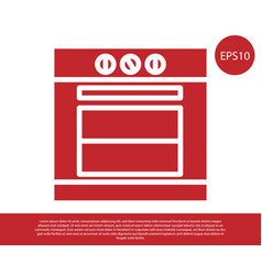 Red oven icon isolated on white background stove vector