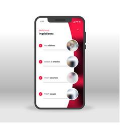 Red restoraunt menu ui ux gui screen for mobile vector