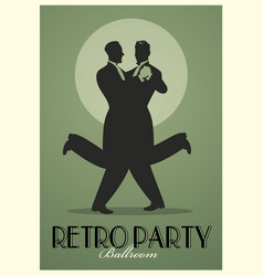Retro party poster silhouettes of men wearing vector