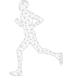 Running man wireframe triangleslow poly style vector
