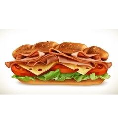 Sandwich with meat and cheese vector image vector image