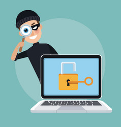 Scene color laptop with padlock key and thief man vector