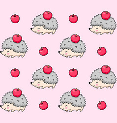 Seamless pattern spiky hedgehogs with apples vector