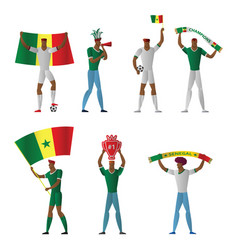 senegal football fans cheerful soccer vector image