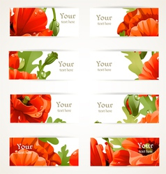 Set floral banners with fragments of red poppies vector