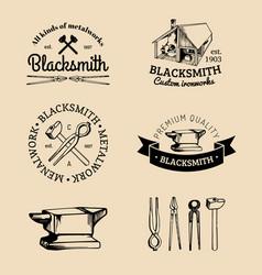 set hand sketched blacksmith logos vector image