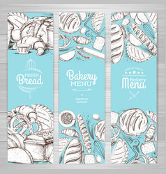 Set of retro bakery banners bakery products vector