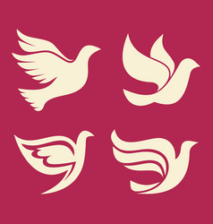 Set of silhouettes of dove vector