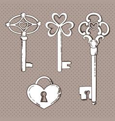 set vintage keys vector image