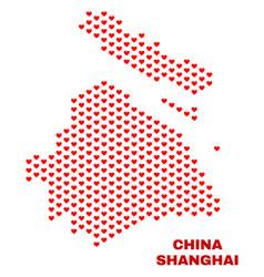 shanghai city map - mosaic of valentine hearts vector image