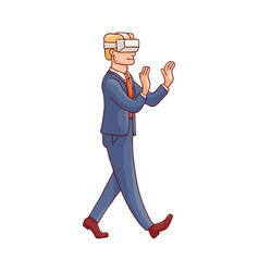sketch business man virtual realisty vr vector image