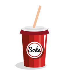 Soda glass drink icon vector