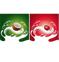 Splash with coconut cherry lying on milk tongue vector