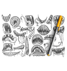 spooky teeth and mouth doodle set vector image