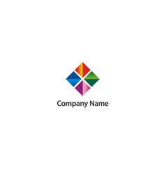 Square geometry colored abstract company logo vector